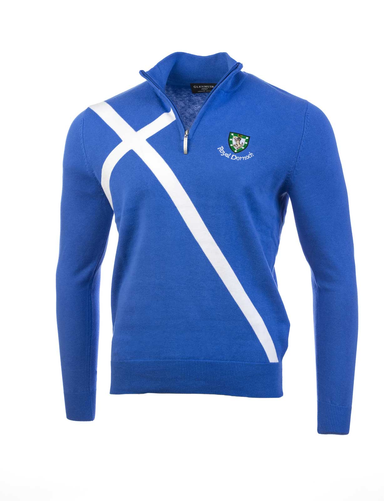Glenmuir Mens Zip Neck Sweater With Saltire Royal